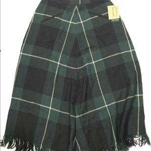 Vintage Ralph Lauren Plaid Wool Midi Skirt Fringe